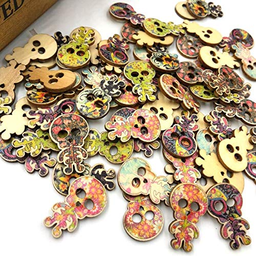 VasyShop 100pc Mix Skull Head Pattern Wood Sewing Buttons Scrapbooking WB374