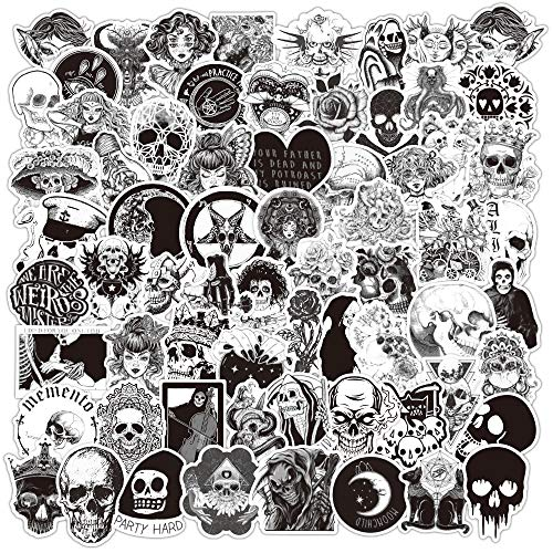 Gothic Stickers Pack, 100Pcs Satanic Stickers Waterproof Vinyl Skull Decals for Laptop, Skateboard,...