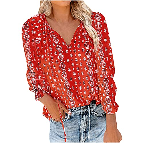 Women's Long Sleeve Shirts Tops Casual Boho Floral Print Plus Size Blouse Trendy Loose Fit Blouses...