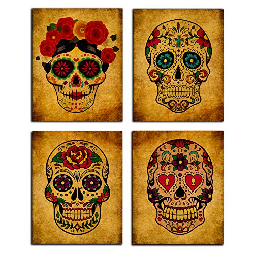 FaCraft Sugar Skull Wall Art Decorations,Set of 4 Day of The Dead Skeleton Vintage Abstract Painting...